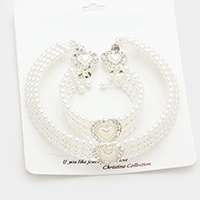 3-PCS Pave heart 3-row pearl choker necklace jewelry set