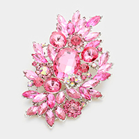 Glass crystal bouquet brooch