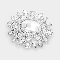 Oval glass crystal flower brooch