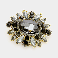 Oval glass crystal flower brooch / pendant