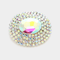 Pave trim oval glass crystal brooch