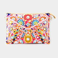 Embroidered wristlet clutch bag with straps