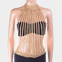 Vertical crystal mesh high neck top body chain necklace