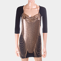 Draped metal mesh cami tunic body chain necklace
