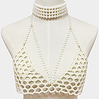 Faux Pearl Body Chain Bra Choker Necklace