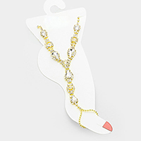 Crystal Rhinestone Teardrop Anklet with Toe Ring Foot Chain