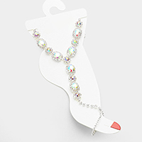 Crystal Rhinestone Anklet with Toe Ring Foot Chain