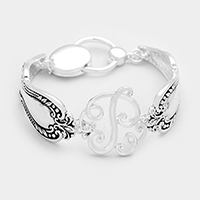 'P' Antique metal spoon handle monogram magnetic bracelet