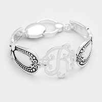 'R' Antique metal spoon handle monogram magnetic bracelet