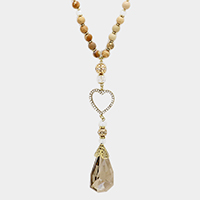 Pave Heart with Natural Stone Long Necklace
