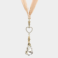 Pave Heart with Cotton Ribbon Long Necklace