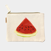 Watermelon _ Cotton canvas eco pouch bag