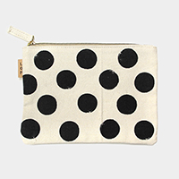 Polka dot _ Cotton canvas eco pouch bag
