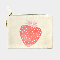 Strawberry _ Cotton canvas eco pouch bag