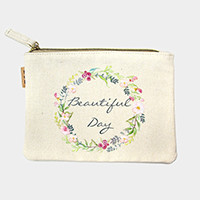Beautiful day _ Cotton canvas eco pouch bag