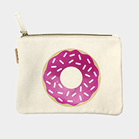 Donut _ Cotton canvas eco pouch bag