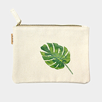 Leaf _ Cotton canvas eco pouch bag