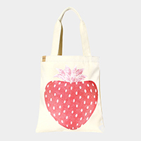 Strawberry _ Cotton canvas eco shopper bag