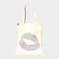 Lips _ Cotton canvas eco shopper bag