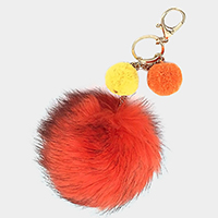 Triple pom pom faux fur keychain / bag charm