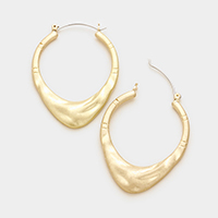 Hammered oval hoop pin catch earrings