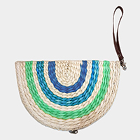 Semi circle straw zip around wristlet clutch bag