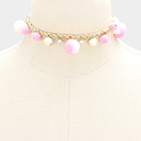 Multiple Pom Pom Braided Suede Choker Necklace