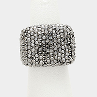Crystal pave stretch ring