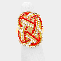 Rhinestone Pave Knot Stretch Ring