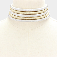 Metallic Cord Coil Multi Strand Collar Choker Necklace