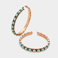 Turquoise hoop pin catch earrings