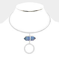 Natural Stone with Dropped Round Casting Choker Necklace