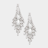 Glass Crystal Rhinestone Teardrop Earrings