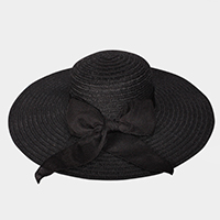 Ribbon Bow Floppy Straw Sun Hat