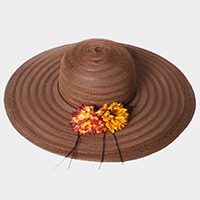 Wide Brim Flower Straw Floppy Sun Hat