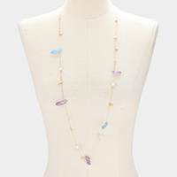 AB Aurora Borealis Natural Stone & Mother of Pearl Long Necklace