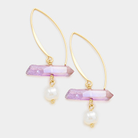 AB Aurora Borealis Natural Stone & Mother of Pearl Drop Earrings