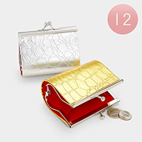 12 PCS - Crocodile Pattern Coin Clasp Purses