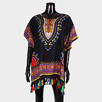 Ethnic Patterned top cover up with Tassel