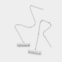 Square Bar Cubic Zirconia Threader Earrings
