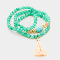 3 PCS - Semi Precious Stone With Tassel Stretch Bracelets