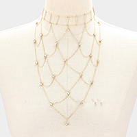 Geo Net Rhinestone Choker Necklace