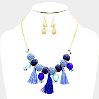 Threaded Tassel and Ball Statement Necklace