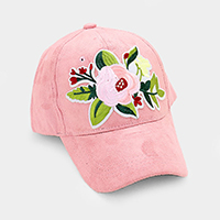 Embroidered Applique Flower Patch Suede Cap