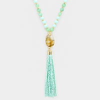Druzy Quartz Pendant Long Necklace with Bead Tassel Decor