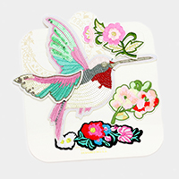 Embroidered Flower & Sequin Bird Patch Set