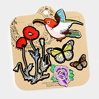 Embroidered Flower, Bird & Butterfly Patch Set