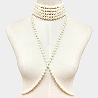 Faux Pearl Body Chain Bra Outline Choker Necklace