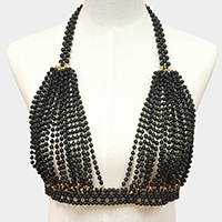 Faux Pearl Bra Body Necklace
