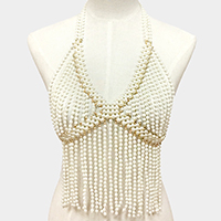 Faux Pearl top multi layered body chain necklace